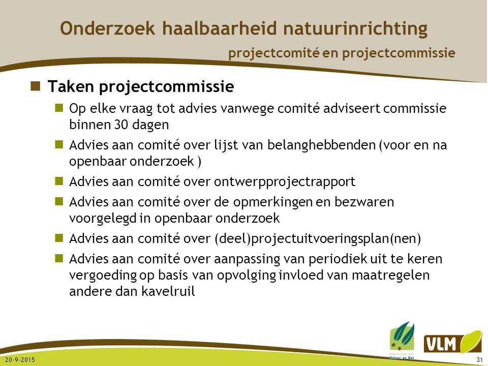 20-9-201531 Onderzoek haalbaarheid natuurinrichting projectcomité en projectcommissie Taken projectcommissie Op elke vraag tot advies vanwege comité a