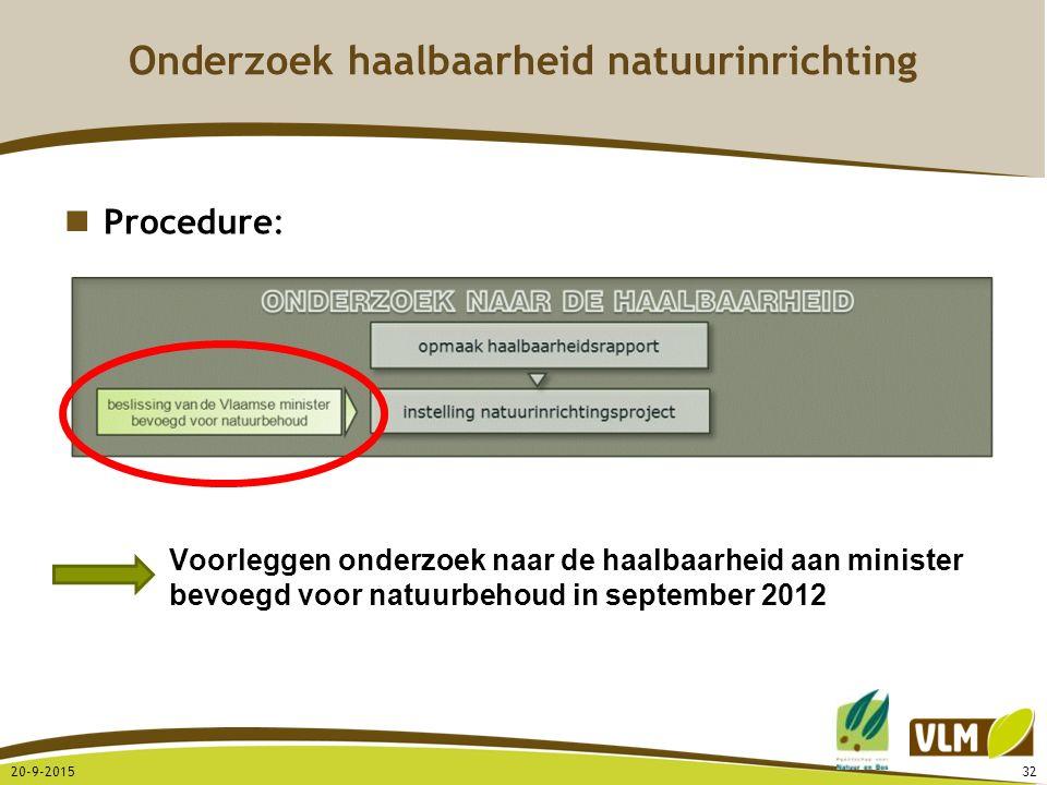 20-9-201532 Procedure: Voorleggen onderzoek naar de haalbaarheid aan minister bevoegd voor natuurbehoud in september 2012 Onderzoek haalbaarheid natuu