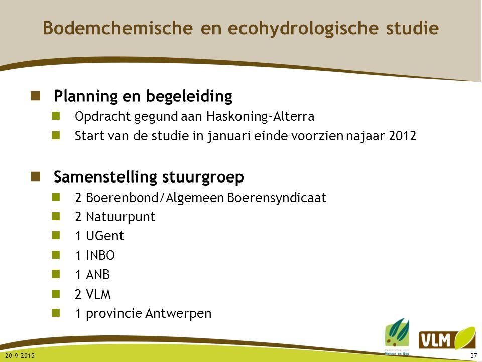 20-9-201537 Planning en begeleiding Opdracht gegund aan Haskoning-Alterra Start van de studie in januari einde voorzien najaar 2012 Samenstelling stuu