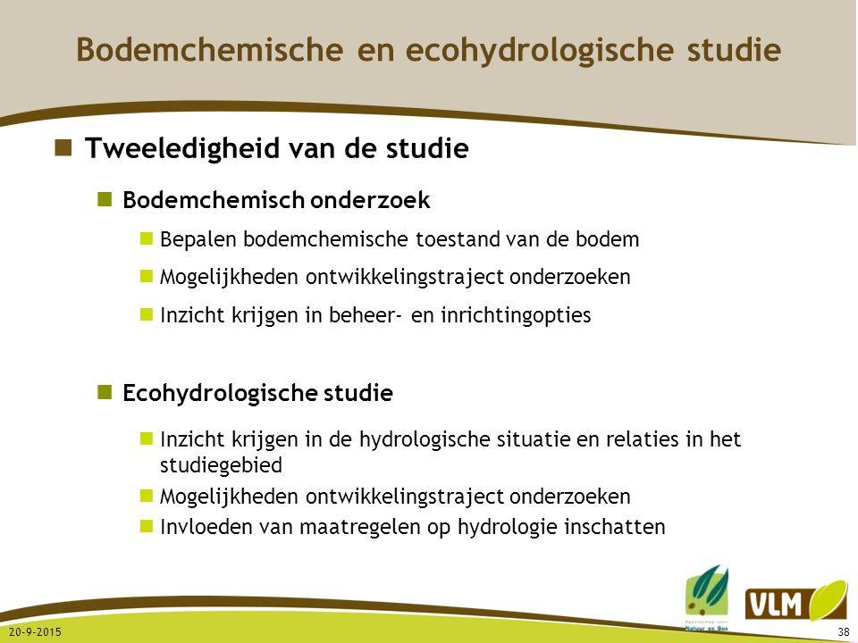 20-9-201538 Tweeledigheid van de studie Bodemchemisch onderzoek Bepalen bodemchemische toestand van de bodem Mogelijkheden ontwikkelingstraject onderz