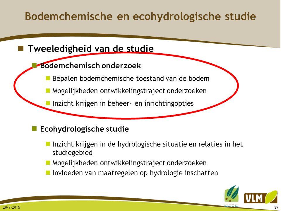 20-9-201539 Bodemchemische en ecohydrologische studie Tweeledigheid van de studie Bodemchemisch onderzoek Bepalen bodemchemische toestand van de bodem