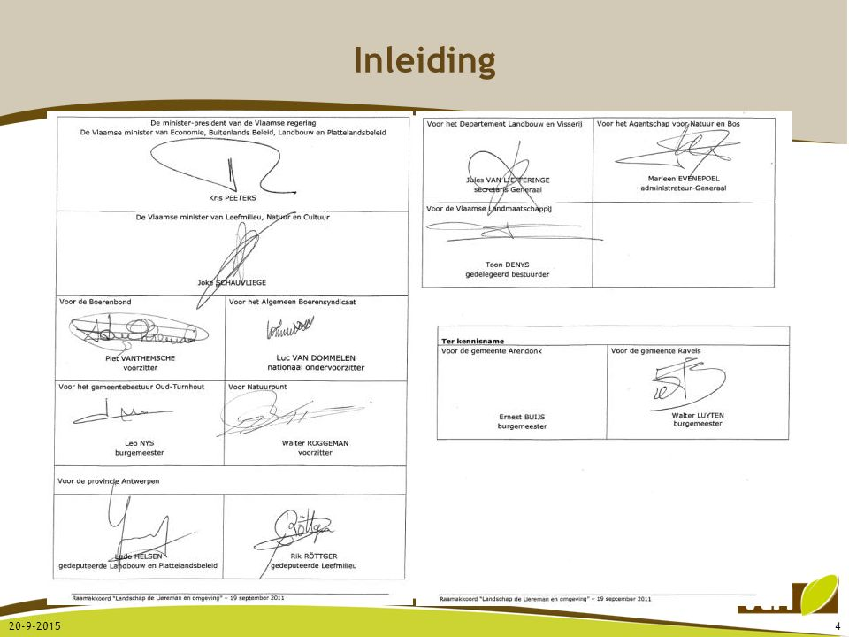 Definitie instrument: een aaneenschakeling van maatregelen via een al dan niet juridisch vastgelegde volgorde en procedure Bijvoorbeeld: Ruimtelijk uitvoeringsplan (RUP) Natuurinrichting Ruilverkaveling Beschermd landschap Lokale grondenbank … Instrumentenmix - instrumenten