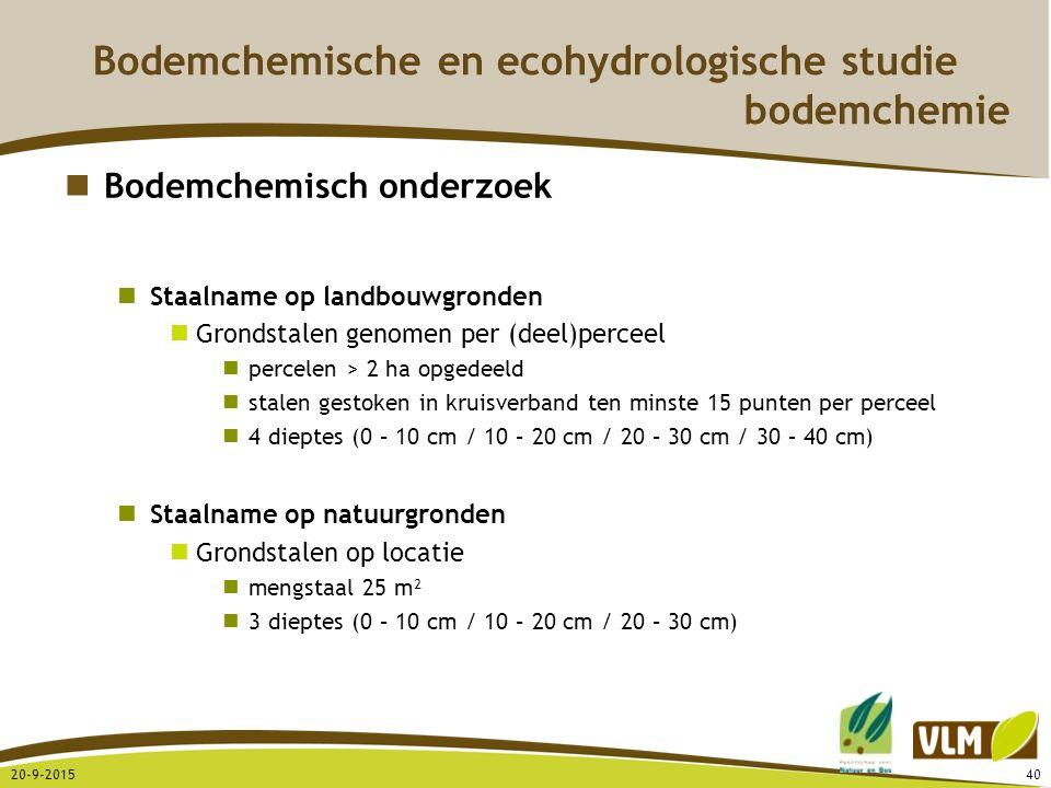 20-9-201540 Bodemchemisch onderzoek Staalname op landbouwgronden Grondstalen genomen per (deel)perceel percelen > 2 ha opgedeeld stalen gestoken in kr