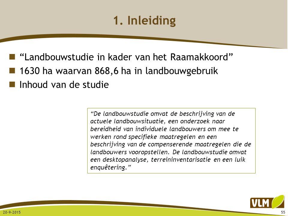 """""""Landbouwstudie in kader van het Raamakkoord"""" 1630 ha waarvan 868,6 ha in landbouwgebruik Inhoud van de studie 1. Inleiding 20-9-201555 """"De landbouwst"""