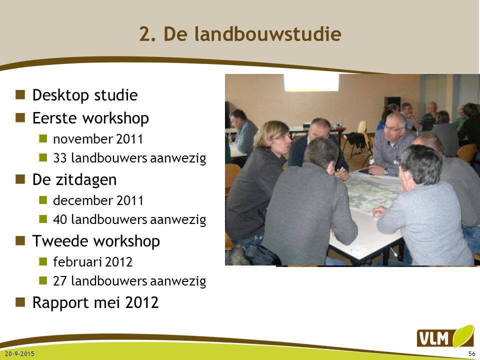 Desktop studie Eerste workshop november 2011 33 landbouwers aanwezig De zitdagen december 2011 40 landbouwers aanwezig Tweede workshop februari 2012 2