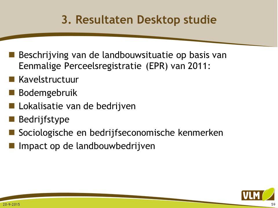 3. Resultaten Desktop studie Beschrijving van de landbouwsituatie op basis van Eenmalige Perceelsregistratie (EPR) van 2011: Kavelstructuur Bodemgebru
