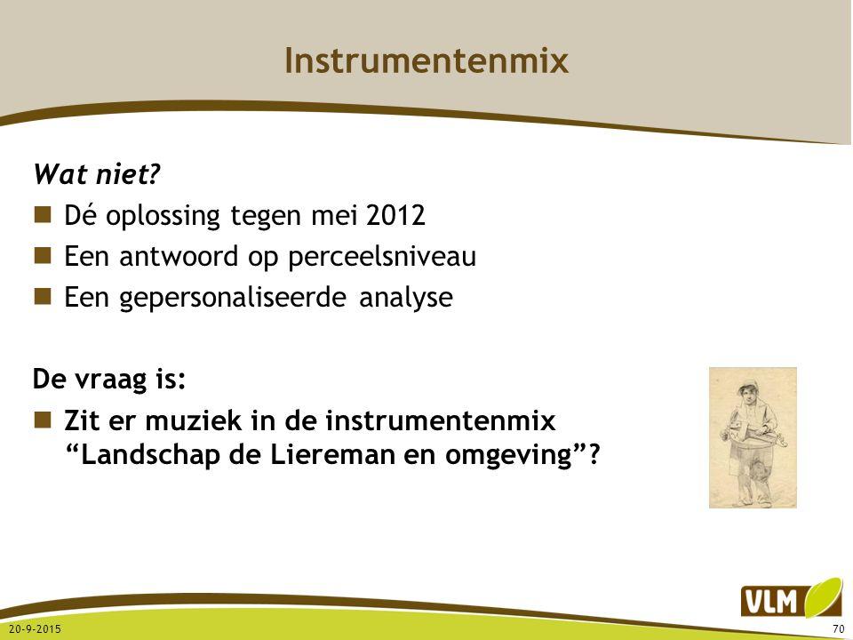 Instrumentenmix Wat niet? Dé oplossing tegen mei 2012 Een antwoord op perceelsniveau Een gepersonaliseerde analyse De vraag is: Zit er muziek in de in