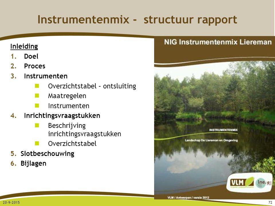 Instrumentenmix - structuur rapport Inleiding 1.Doel 2.Proces 3.Instrumenten Overzichtstabel – ontsluiting Maatregelen Instrumenten 4.Inrichtingsvraag