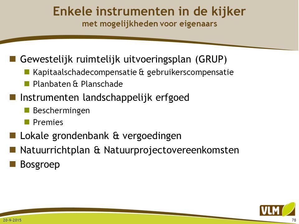 Enkele instrumenten in de kijker met mogelijkheden voor eigenaars Gewestelijk ruimtelijk uitvoeringsplan (GRUP) Kapitaalschadecompensatie & gebruikers