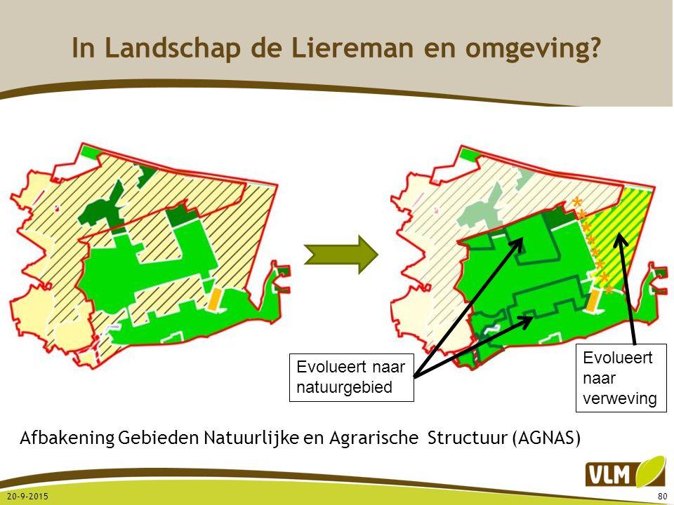 In Landschap de Liereman en omgeving? 20-9-201580 Afbakening Gebieden Natuurlijke en Agrarische Structuur (AGNAS) ******** Evolueert naar natuurgebied