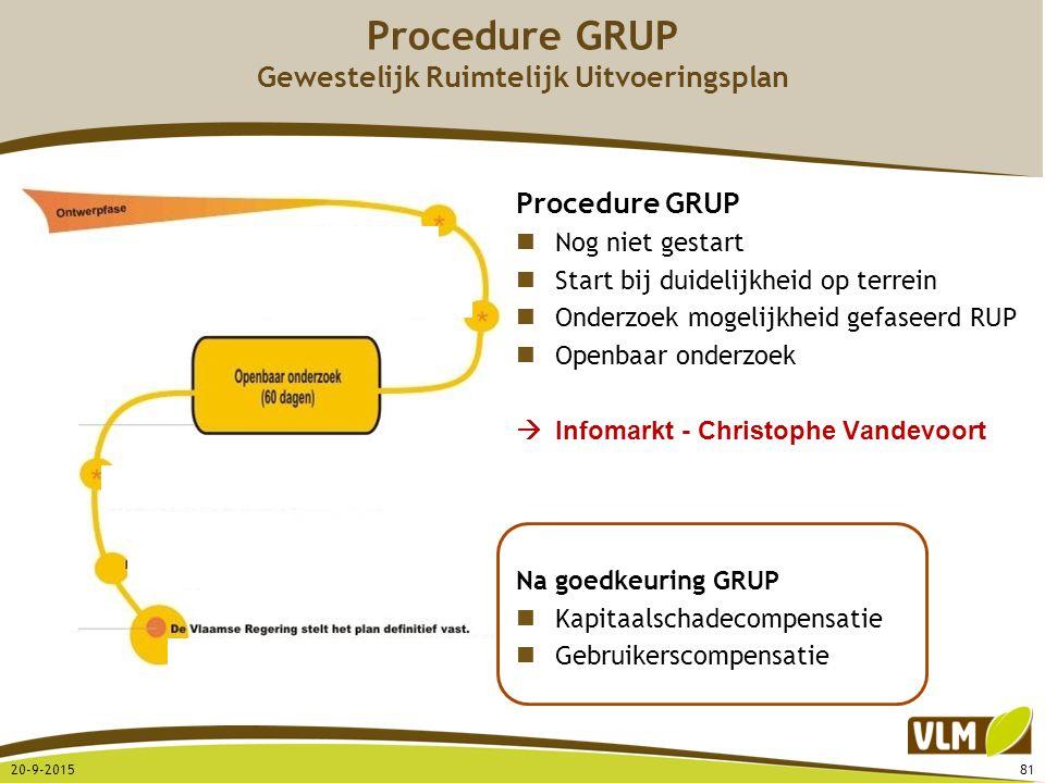 20-9-201581 Procedure GRUP Nog niet gestart Start bij duidelijkheid op terrein Onderzoek mogelijkheid gefaseerd RUP Openbaar onderzoek  Infomarkt - C