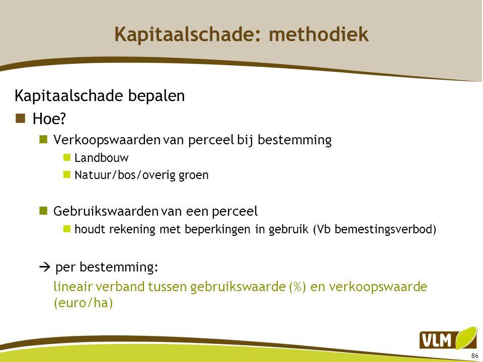 86 Kapitaalschade: methodiek Kapitaalschade bepalen Hoe? Verkoopswaarden van perceel bij bestemming Landbouw Natuur/bos/overig groen Gebruikswaarden v