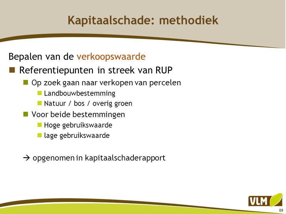 88 Kapitaalschade: methodiek Bepalen van de verkoopswaarde Referentiepunten in streek van RUP Op zoek gaan naar verkopen van percelen Landbouwbestemmi