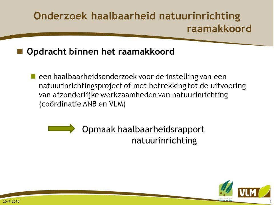 20-9-201510 Onderzoek haalbaarheid natuurinrichting Juridische basis Decreet betreffende het natuurbehoud en het natuurlijk milieu 21/10/1997 en wijzigingen 19/7/2002 Besluit van de Vlaamse Regering 23/7/1998, aangepast 2/2/2007 Doel van natuurinrichting gericht op een optimale inrichting van een gebied met het oog op behoud, herstel, beheer en ontwikkeling van de natuur en het natuurlijk milieu in VEN, SBZ (louter gericht op herstel habitats of habitats van soorten van dat SBZ), groen-, park-, buffer-, bos- en bosuitbreidingsgebieden binnen project Liereman wordt voorgesteld ook inrichtingen in functie van optimalisatie van landbouw mogelijk te maken binnen herbevestigde agrarische gebieden Taakverdeling Agentschap voor Natuur en Bos: Sturend – betalend – voorzitterschap VLM: Ondersteunend - uitvoerend in naam van comité - secretariaat