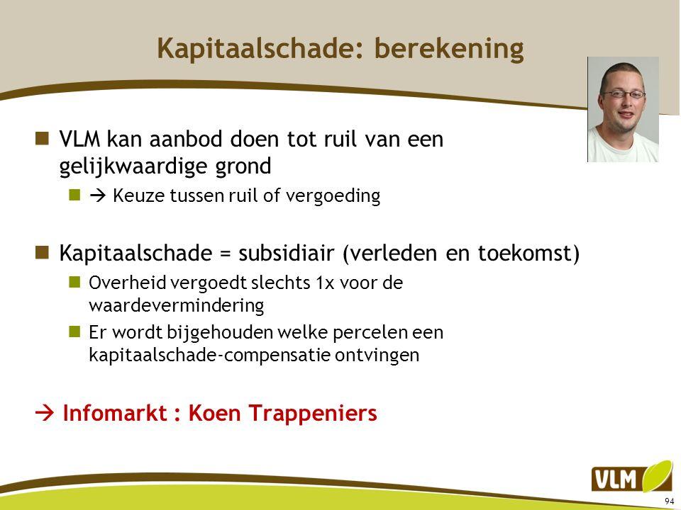 94 Kapitaalschade: berekening VLM kan aanbod doen tot ruil van een gelijkwaardige grond  Keuze tussen ruil of vergoeding Kapitaalschade = subsidiair