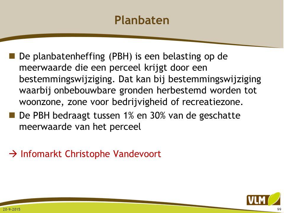 Planbaten De planbatenheffing (PBH) is een belasting op de meerwaarde die een perceel krijgt door een bestemmingswijziging. Dat kan bij bestemmingswij
