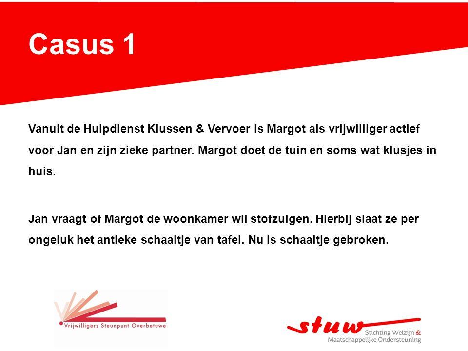 Casus 1 Vanuit de Hulpdienst Klussen & Vervoer is Margot als vrijwilliger actief voor Jan en zijn zieke partner.