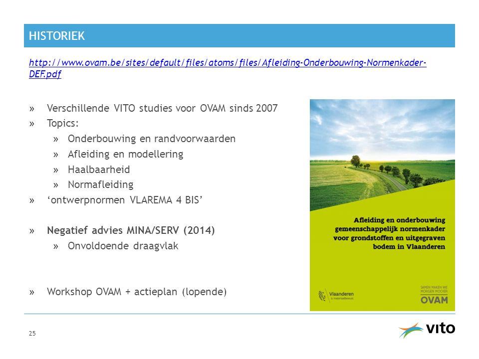 HISTORIEK »Verschillende VITO studies voor OVAM sinds 2007 »Topics: »Onderbouwing en randvoorwaarden »Afleiding en modellering »Haalbaarheid »Normafle
