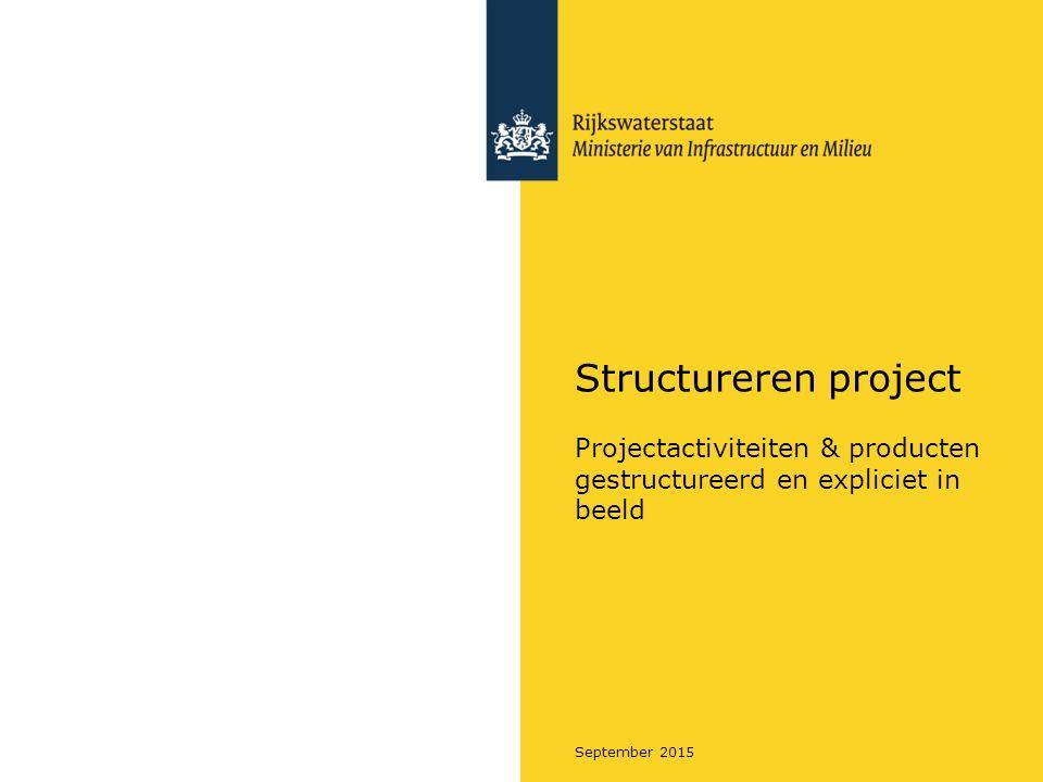 Rijkswaterstaat September 2015 Regels van de Breakdown Structures (BS) De BS is altijd compleet  alle onderdelen zijn het totale product.