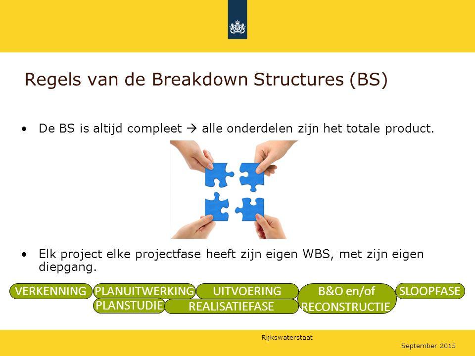 Rijkswaterstaat September 2015 Regels van de Breakdown Structures (BS) De BS is altijd compleet  alle onderdelen zijn het totale product. Elk project