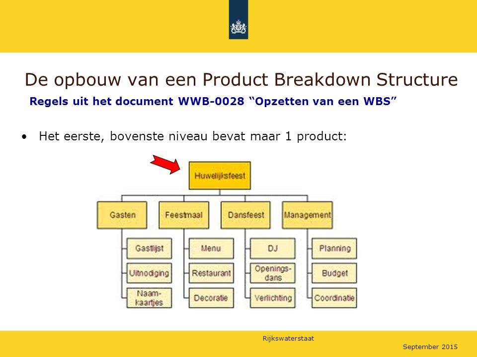 Rijkswaterstaat September 2015 De opbouw van een Product Breakdown Structure Het eerste, bovenste niveau bevat maar 1 product: Regels uit het document