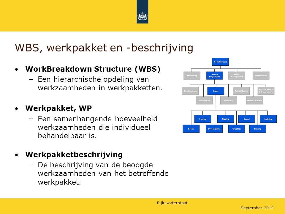Rijkswaterstaat September 2015 WBS, werkpakket en -beschrijving WorkBreakdown Structure (WBS) –Een hiërarchische opdeling van werkzaamheden in werkpak