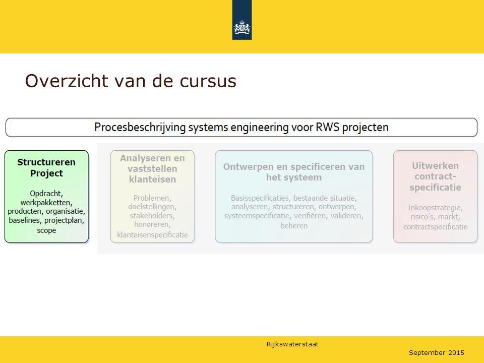 Rijkswaterstaat September 2015 De opbouw van een Product Breakdown Structure Het eerste, bovenste niveau bevat maar 1 product: Regels uit het document WWB-0028 Opzetten van een WBS