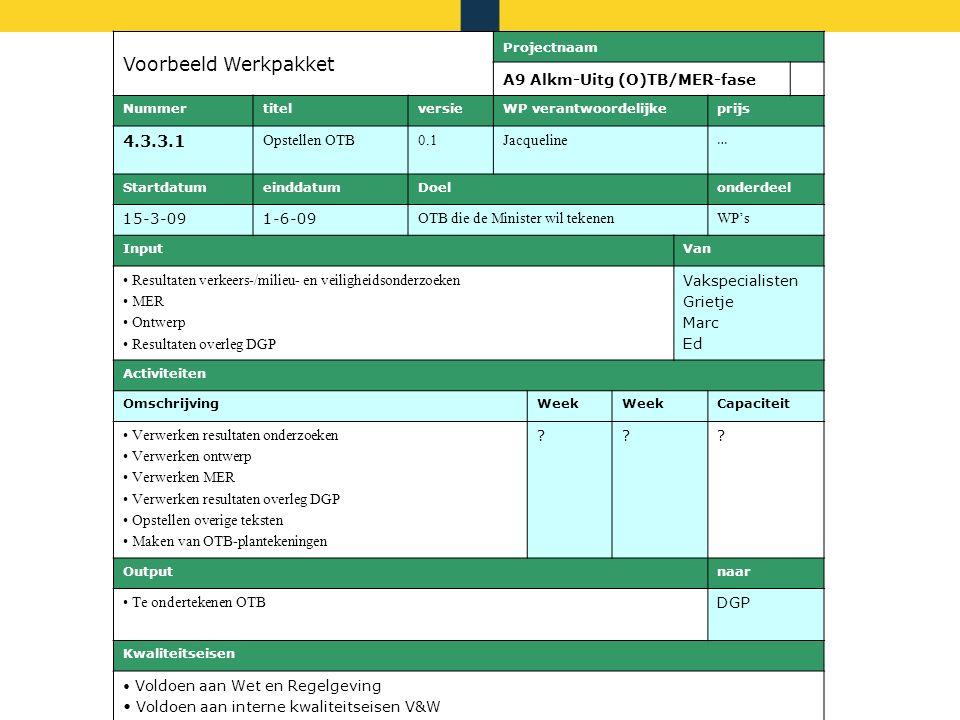 Rijkswaterstaat Maart 2014 Voorbeeld Werkpakket Projectnaam A9 Alkm-Uitg (O)TB/MER-fase NummertitelversieWP verantwoordelijkeprijs 4.3.3.1 Opstellen O