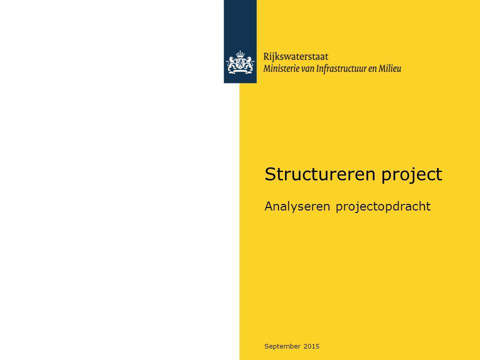 Rijkswaterstaat September 2015 Samenhang Scope – Projectstrategie - Projectplan Oefening 1 - 'Scope': 1.Lees het scopeformulier van het project Sluiscomplex Meppelerdiep 2.Benoem de problemen van de huidige situatie.