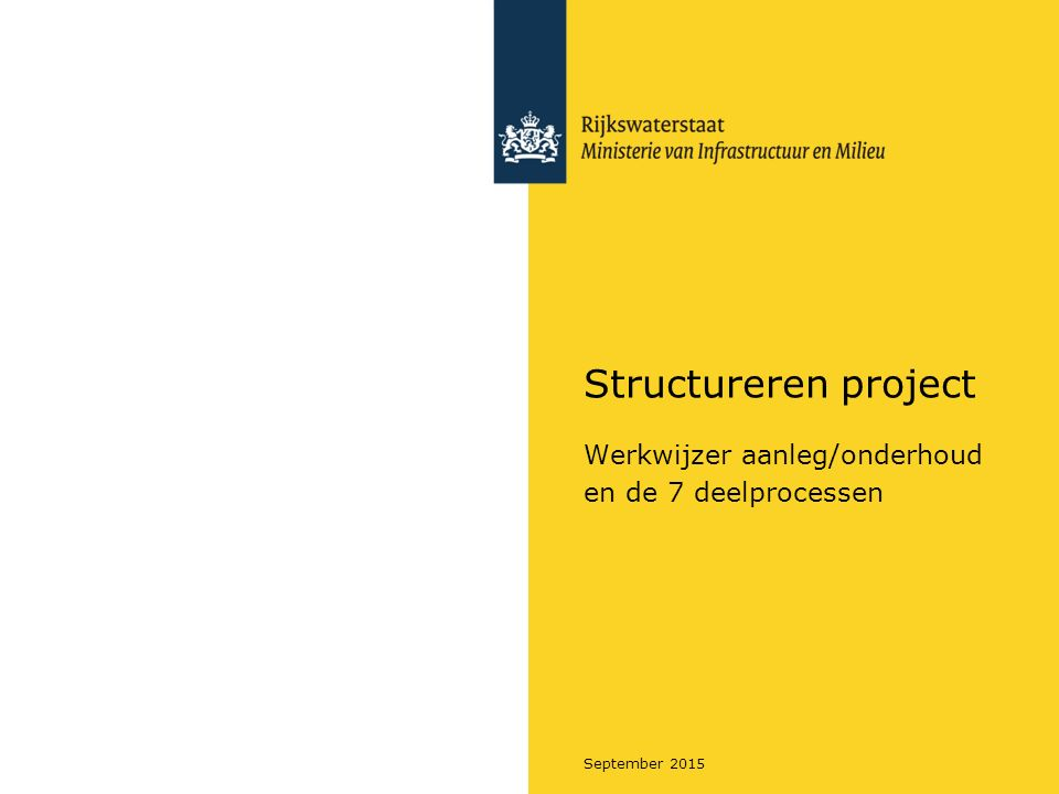 September 2015 Structureren project Werkwijzer aanleg/onderhoud en de 7 deelprocessen