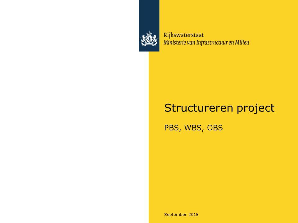 Rijkswaterstaat September 2015 Samenhang Producten (en activiteiten) Voorafgaand Product Breakdown Structure Activiteit Product Activiteit Volgend Activiteit Kenmerken, o.a.: - Verantwoordelijke - Doel - Inhoud - Kwaliteit - Houdbaarheid