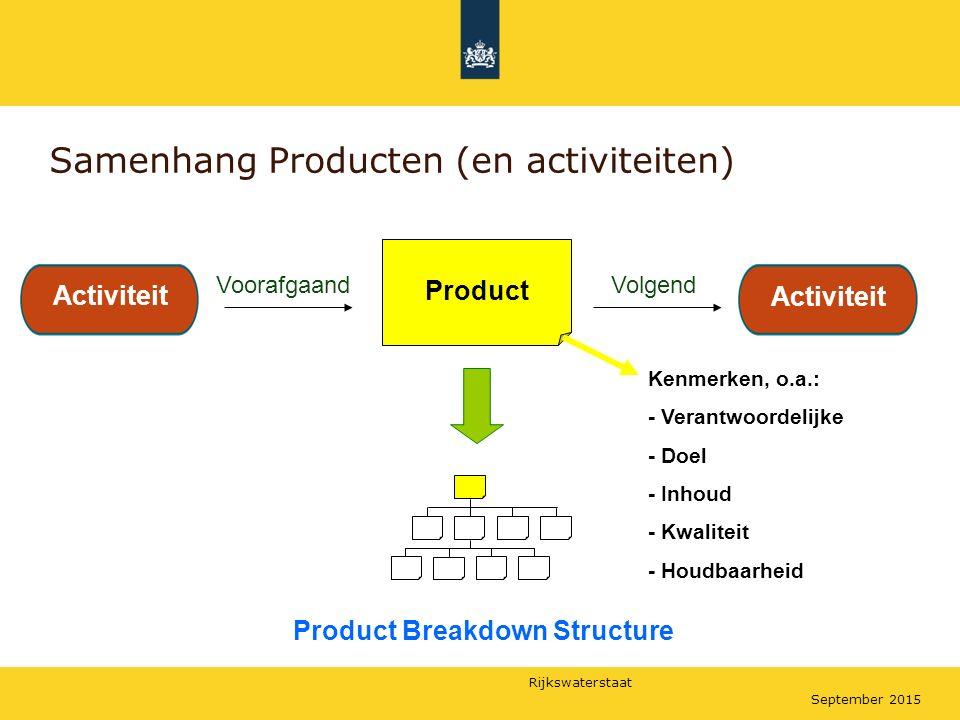 Rijkswaterstaat September 2015 Samenhang Producten (en activiteiten) Voorafgaand Product Breakdown Structure Activiteit Product Activiteit Volgend Act