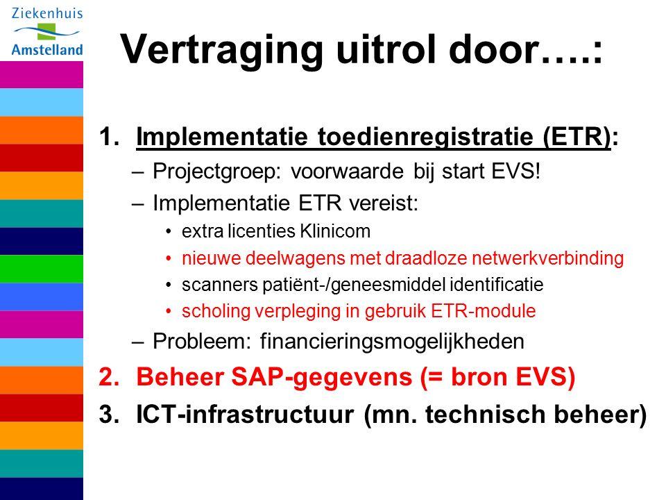 Vertraging uitrol door….: 1.Implementatie toedienregistratie (ETR): –Projectgroep: voorwaarde bij start EVS.
