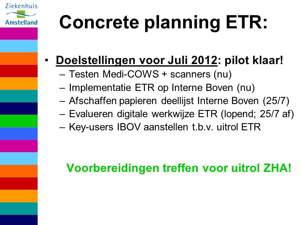 Concrete planning ETR: Doelstellingen voor Juli 2012: pilot klaar.
