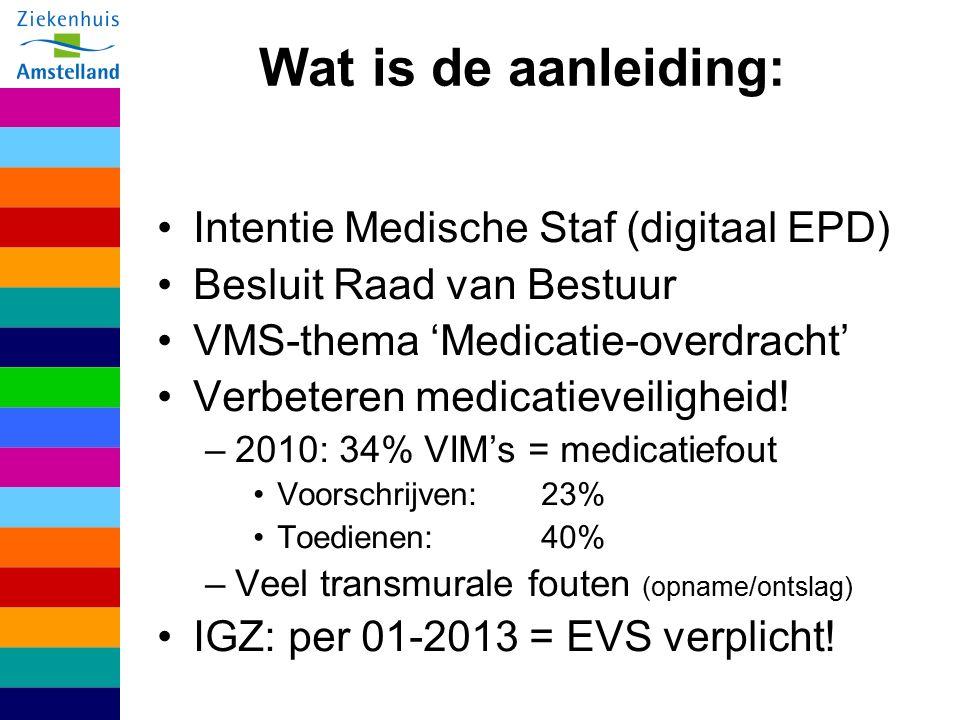 Wat is de aanleiding: Intentie Medische Staf (digitaal EPD) Besluit Raad van Bestuur VMS-thema 'Medicatie-overdracht' Verbeteren medicatieveiligheid.