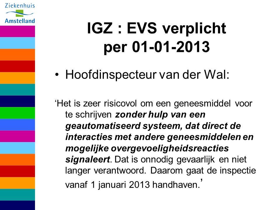 IGZ : EVS verplicht per 01-01-2013 Hoofdinspecteur van der Wal: 'Het is zeer risicovol om een geneesmiddel voor te schrijven zonder hulp van een geautomatiseerd systeem, dat direct de interacties met andere geneesmiddelen en mogelijke overgevoeligheidsreacties signaleert.