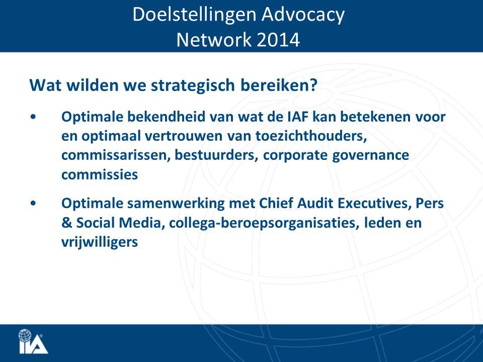 Wat wilden we strategisch bereiken? Optimale bekendheid van wat de IAF kan betekenen voor en optimaal vertrouwen van toezichthouders, commissarissen,