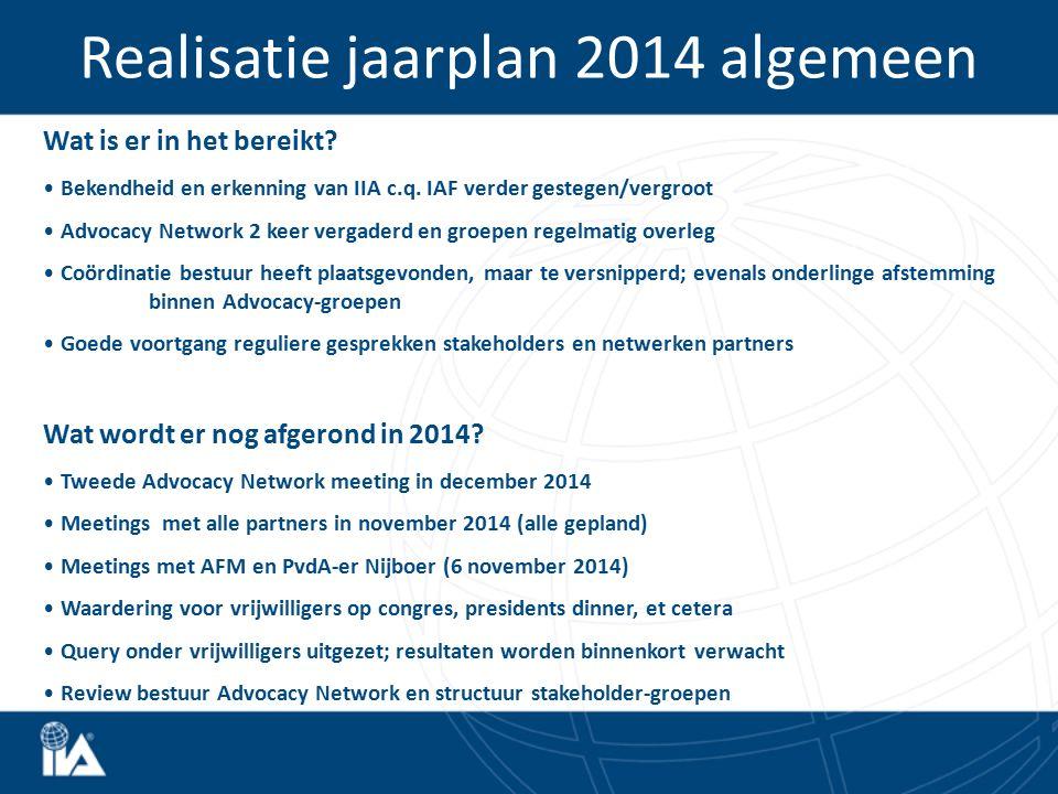 Realisatie jaarplan 2014 algemeen Wat is er in het bereikt? Bekendheid en erkenning van IIA c.q. IAF verder gestegen/vergroot Advocacy Network 2 keer