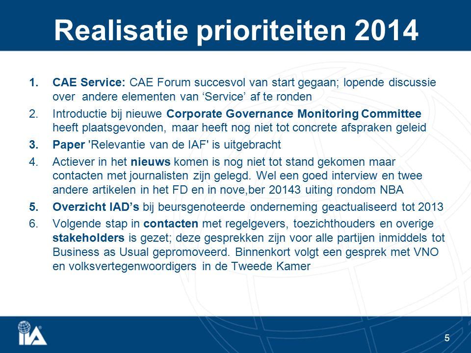 Realisatie prioriteiten 2014 1.CAE Service: CAE Forum succesvol van start gegaan; lopende discussie over andere elementen van 'Service' af te ronden 2