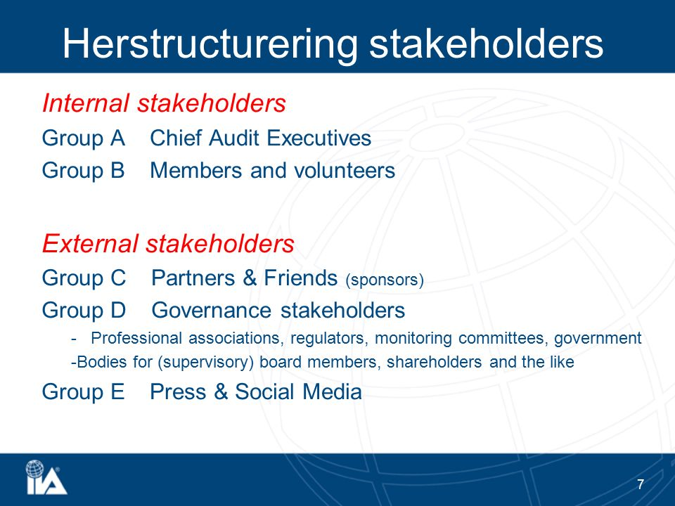 Herstructurering stakeholders Internal stakeholders Group A Chief Audit Executives Group B Members and volunteers External stakeholders Group C Partne