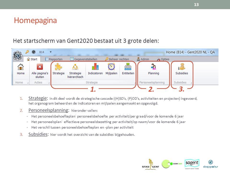 Homepagina 13 Het startscherm van Gent2020 bestaat uit 3 grote delen: 1. Strategie: in dit deel wordt de strategische cascade ((H)SD's, (P)OD's, activ