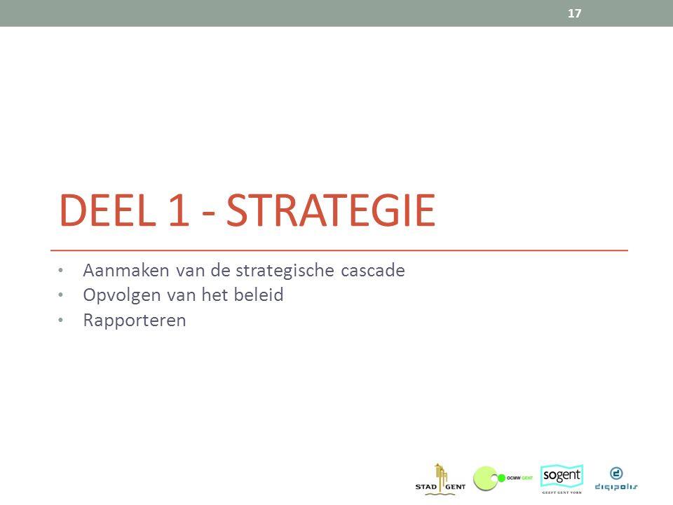 DEEL 1 - STRATEGIE Aanmaken van de strategische cascade Opvolgen van het beleid Rapporteren 17