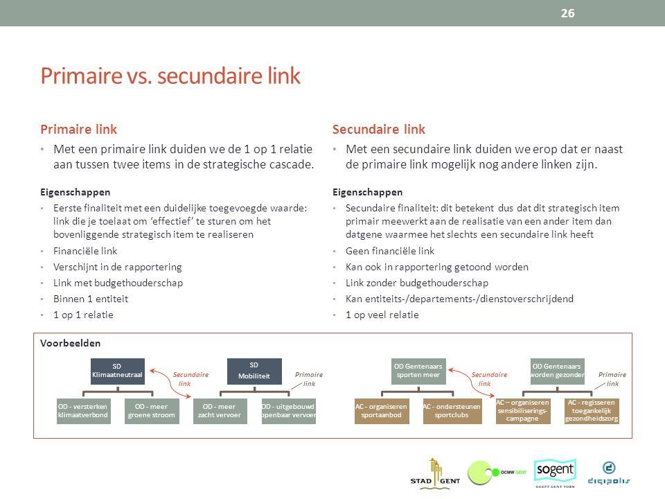 Voorbeelden Primaire vs. secundaire link Primaire link Met een primaire link duiden we de 1 op 1 relatie aan tussen twee items in de strategische casc