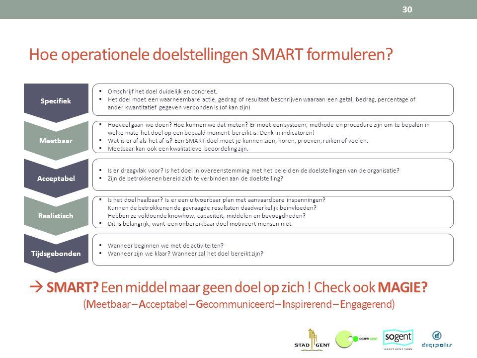 Hoe operationele doelstellingen SMART formuleren? 30 Specifiek  Omschrijf het doel duidelijk en concreet.  Het doel moet een waarneembare actie, ged