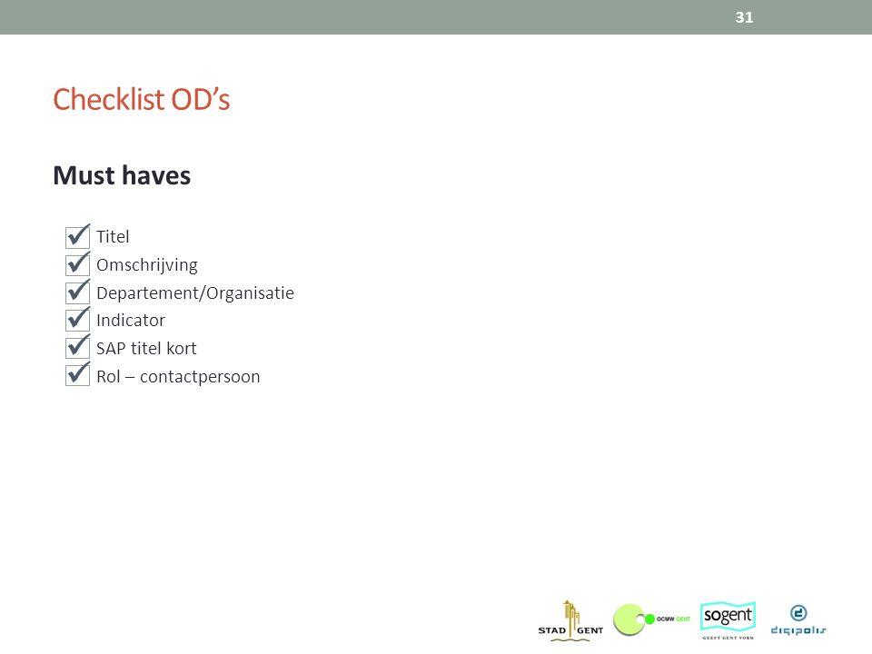 Must haves Titel Omschrijving Departement/Organisatie Indicator SAP titel kort Rol – contactpersoon 31 Checklist OD's