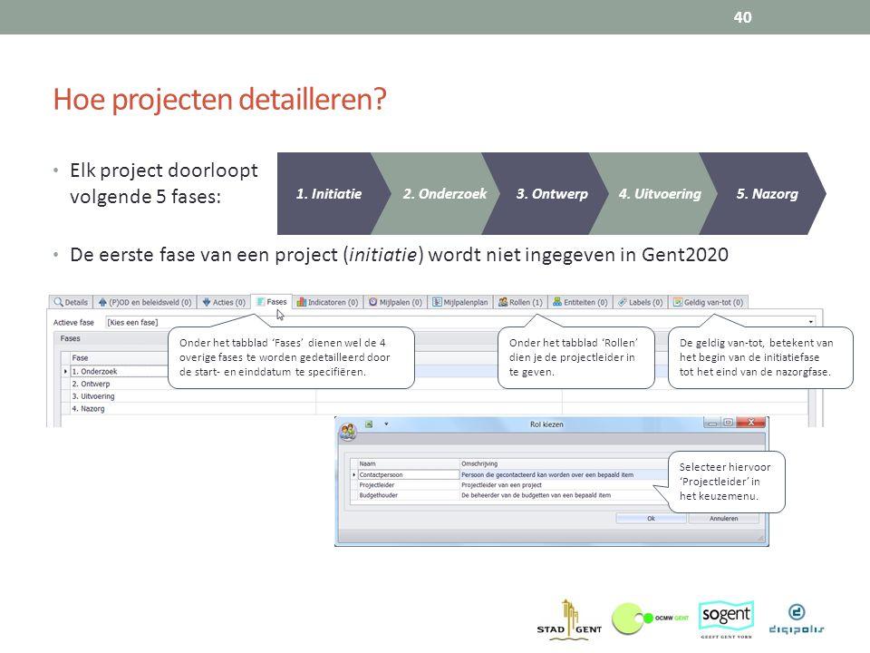Hoe projecten detailleren? Elk project doorloopt volgende 5 fases: De eerste fase van een project (initiatie) wordt niet ingegeven in Gent2020 40 5. N