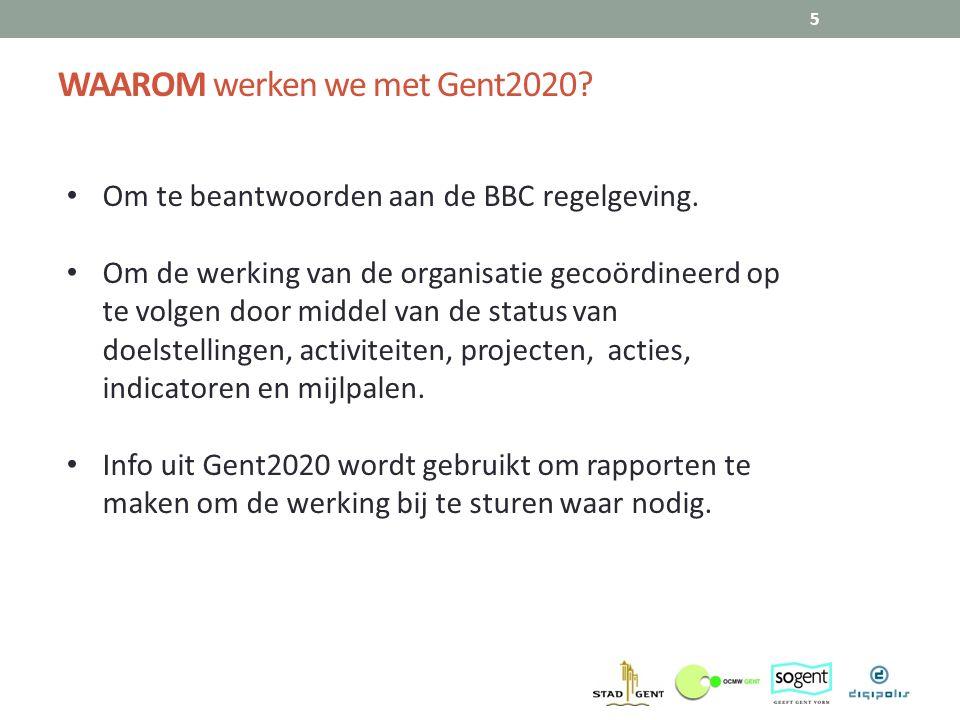 WAAROM werken we met Gent2020? 5 Om te beantwoorden aan de BBC regelgeving. Om de werking van de organisatie gecoördineerd op te volgen door middel va