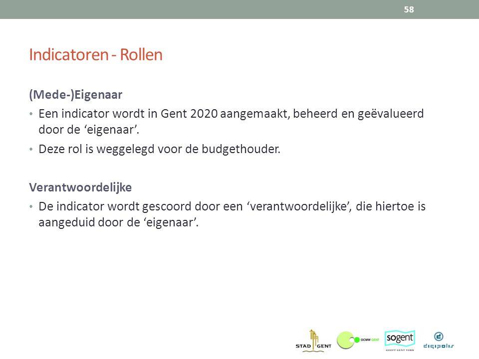 Indicatoren - Rollen (Mede-)Eigenaar Een indicator wordt in Gent 2020 aangemaakt, beheerd en geëvalueerd door de 'eigenaar'. Deze rol is weggelegd voo