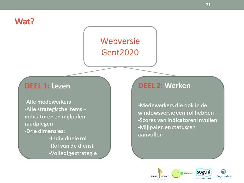 Wat? 71 Webversie Gent2020 DEEL 1: Lezen -Alle medewerkers -Alle strategische items + indicatoren en mijlpalen raadplegen -Drie dimensies: -Individuel
