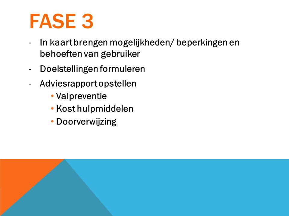 FASE 3 -In kaart brengen mogelijkheden/ beperkingen en behoeften van gebruiker -Doelstellingen formuleren -Adviesrapport opstellen Valpreventie Kost h